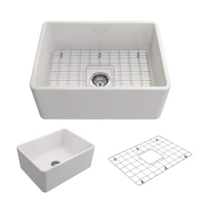 Classico Farmhouse Apron Front Fireclay 24 in. Single Bowl Kitchen Sink with Bottom Grid and Strainer in White