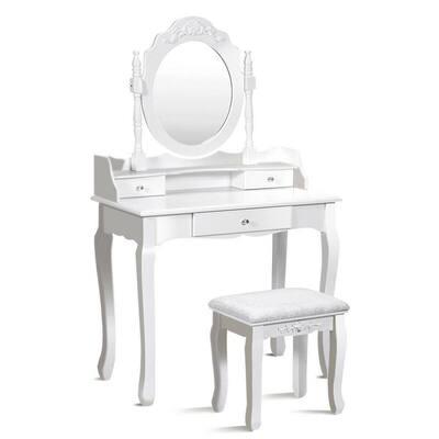 3-Piece White Vanity Table Set Bathroom Mirror Wood Makeup Dressing Table Stool 3-Drawer