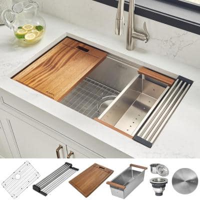 32 in. Single Bowl Undermount 16-Gauge Stainless Steel Ledge Kitchen Sink with Sliding Accessories