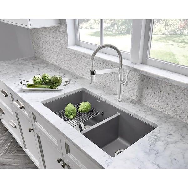 Blanco Precis Undermount Granite Composite 33 In 60 40 Double Bowl Kitchen Sink Metallic Gray 441130 The Home Depot