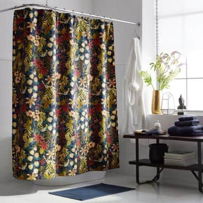 Legends Hotel Fall Floral Sateen 72 in. Multi-Colored Shower Curtain