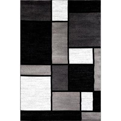 Contemporary Geometric Boxes Gray 10 ft. x 14 ft. Indoor Area Rug