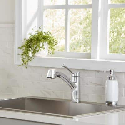 McKenna Single-Handle Pull-Out Sprayer Kitchen Faucet in Chrome with TurboSpray and Fastmount