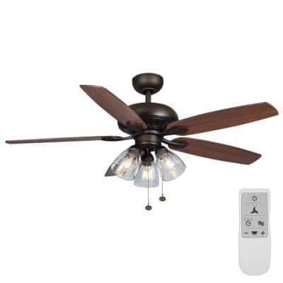 Rockport 52 in. Bronze LED Ceiling Fan with Light Kit Works with Google Assistant and Alexa