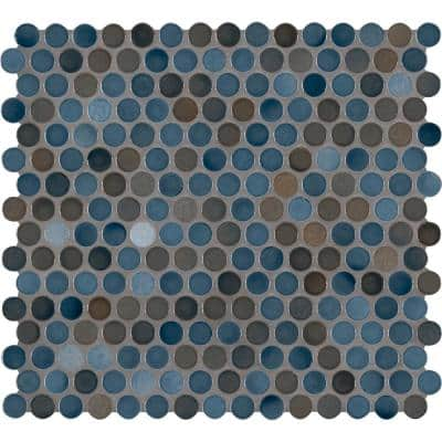 Penny Round Azul 11.3 in. x 12.2 in. x 6 mm Glossy Porcelain Mosaic Tile (14.4 sq. ft. / case)