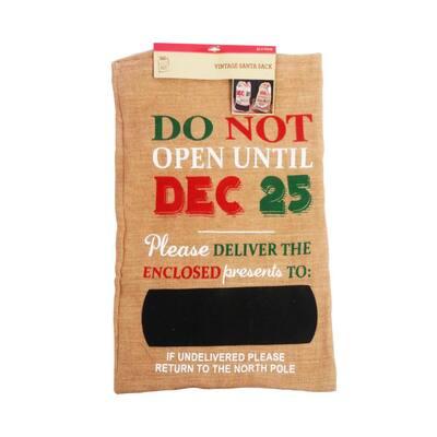 29 in. Burlap Do Not Open till Dec. 25th Sack