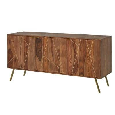 Dark Natural Finish Buffet Table with Gold Metal Inlay (63 in. W x 29.5 in. H)