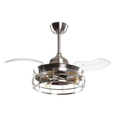 36 in. Indoor Satin Nickel Ceiling Fan with Light and Remote Control