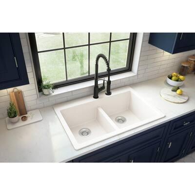 White Quartz 33 in. 50/50 Double Bowl Composite Drop-in Kitchen Sink
