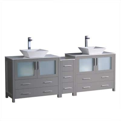 Torino 84 in. W Double Bath Vanity in Gray with Glass Stone Vanity Top in White with White Vessel Sink Middle Cabinet