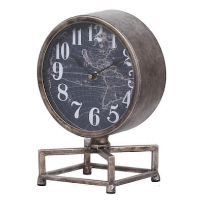 Metro Table Clock - Silver, Antique White, Dark Blue