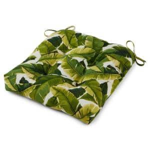 Palm Leaves White Square Tufted Outdoor Seat Cushion