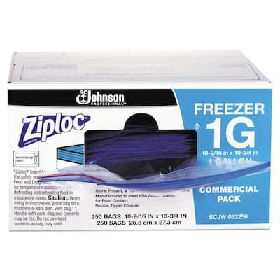 1 Gal. 2.7 mil 10.56 in. x 10.75 in. Clear Double Zipper Freezer Bags (250/Carton)