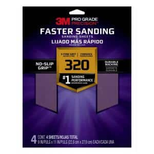 Pro Grade Precision 9 in. x 11 in. 320 Grit Faster Sanding Sheets x-Fine (4-Pack)