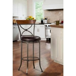 Camerson 30 in. Charcoal Gray and Chestnut Brown X-Back Counter Stool