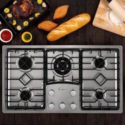 36 in. Gas Cooktop in Stainless Steel with 5 of Burners Including Simmer Burner