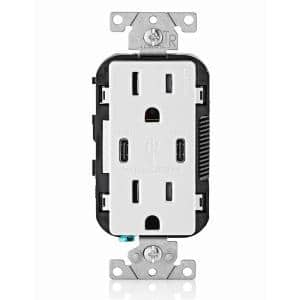 15 Amp White Duplex Tamper-Resistant Outlets with 6 Amp USB Dual Type-C Power Delivery In-Wall Chargers