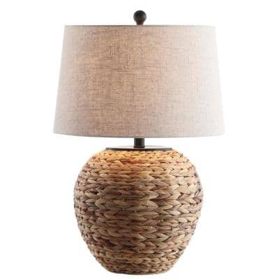 Alaro 24.5 in. Banana Leaf Basket LED Table Lamp, Natural