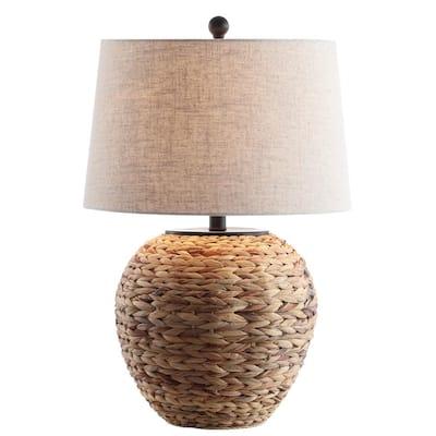 Alaro 24.5 in. Banana Leaf Basket LED Table Lamp, Natural