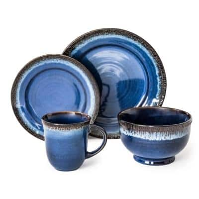 Roots 16-Piece Casual Blue Porcelain Dinnerware Set (Service for 4)