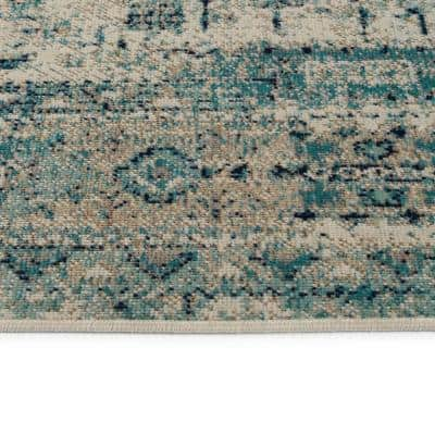 Zuma Beach Collection Turquoise 9 ft. 3 in. x 12 ft. Rectangle Indoor/Outdoor Area Rug