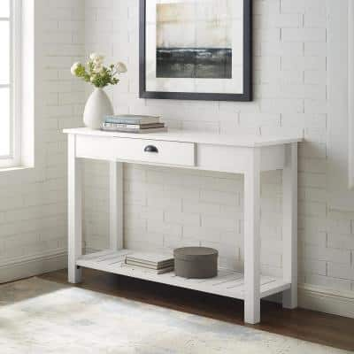 Country 48 in. Brushed White Standard Rectangle Wood Console Table with Drawers