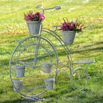 52.5 in. High Wheel Antique White Iron Bicycle Planter
