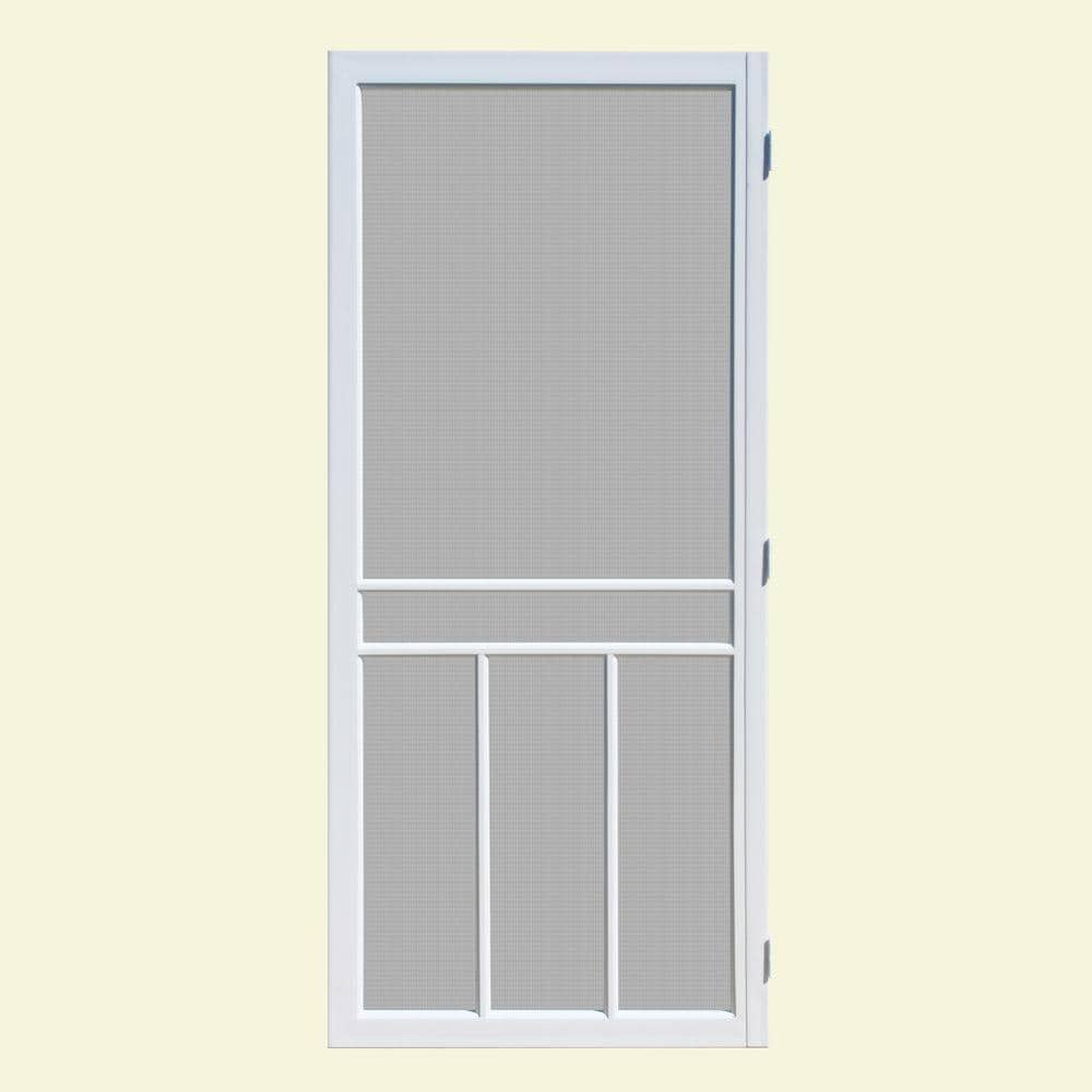 Unique Home Designs 36 In X 80 In Newport White Outswing Vinyl Hinged Screen Door Ishv610036wht The Home Depot