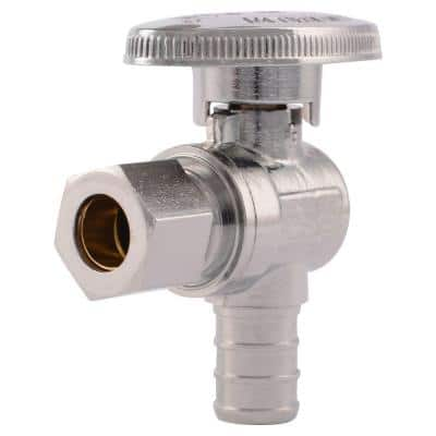 1/2 in. Chrome-Plated Brass PEX Barb x 3/8 in. Compression Quarter-Turn Angle Stop Valve