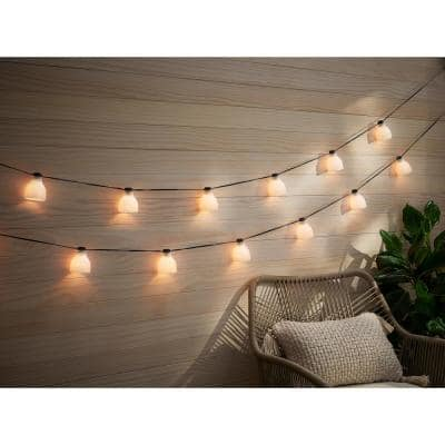 Outdoor/Indoor 10.6 ft. Plug-In Type G Bulb String Light with 8 White Glass Shades