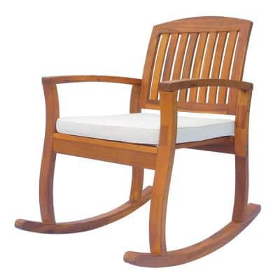 Acacia Wood Outdoor Patio Rocking Chair with Cushioned Seat in White