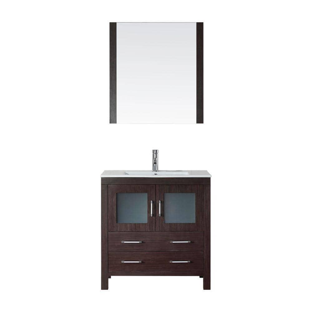 Virtu Usa Dior 32 In W Bath Vanity Espresso With Ceramic Top White Square Basin And Mirror Faucet Ks 70032 C Es The Home Depot