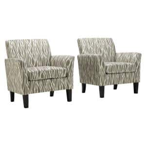 Taupe Modern Geometric Maritza Flared Arm Upholstered Chairs (Set of 2)