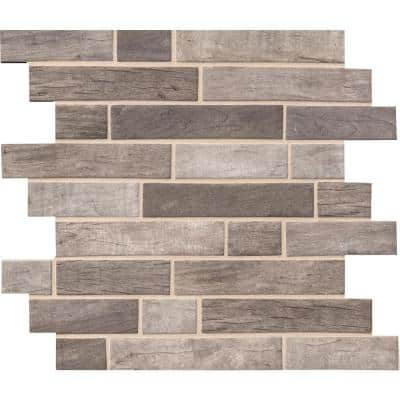 Driftwood Interlocking 12 in. x 12 in. x 6 mm Matte Recycled Glass Mesh-Mounted Mosaic Tile (14.55 sq. ft./Case)