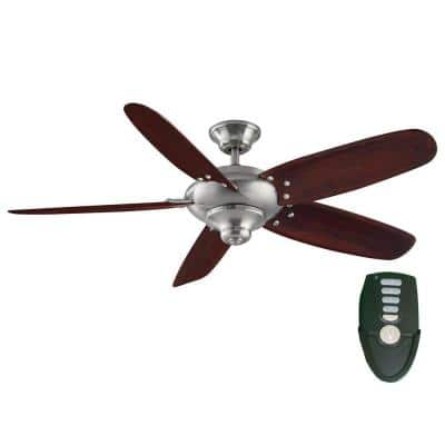 Altura 56 in. Indoor Brushed Nickel Dry Rated Ceiling Fan with Downrod, Remote Control and Reversible Motor