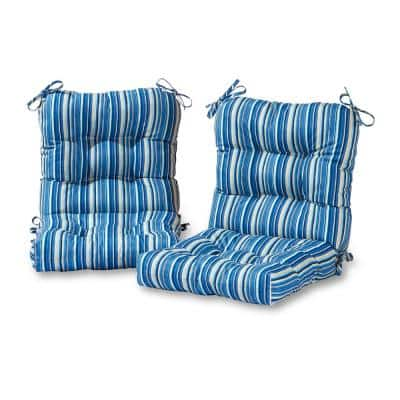 Sapphire Stripe 21 in. x 42 in. Outdoor Dining Chair Cushion (2-Pack)