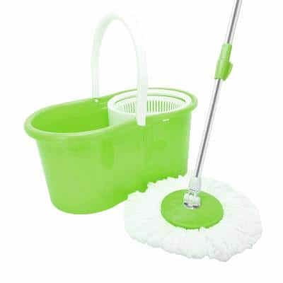 Microfiber Spin Mop String with Bucket Mop Kit Green