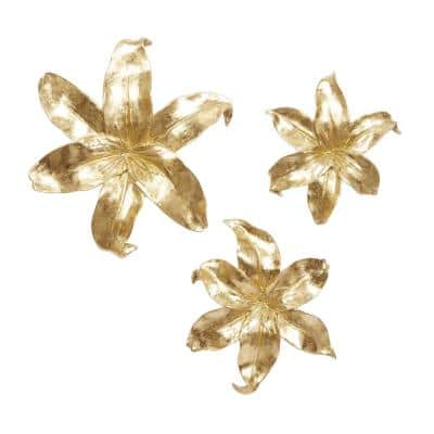 18 in. x 16 in. Gold Polystone Contemporary Wall Decor (Set of 3)