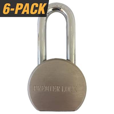2-5/8 in. Premier Solid Steel Commercial Gate Keyed Padlock with Long Shackle and 18 Keys Total (6-Pack, Keyed Alike)