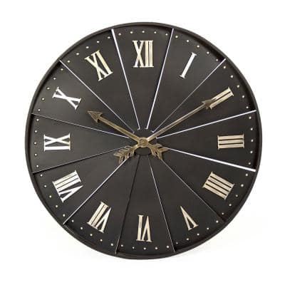 Round Airfoiled with Roman Numeral and Arrow Handed Rustic Brown and Gold Finished Clock