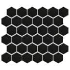 "Metro Hex 2"" Matte Black 11-1/8 in. x 12-5/8 in. Porcelain Mosaic (9.96 sq. ft. /Case)"