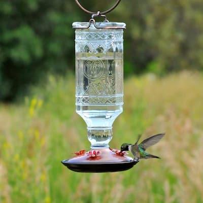Clear Antique Square Decorative Glass Hummingbird Feeder - 24 oz. Capacity