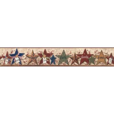 Decorative Stars Border Tan Wallpaper Border