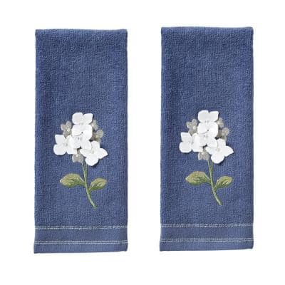 Farm Hydrangea 100% Cotton 2-Pack Blue Hand Towel