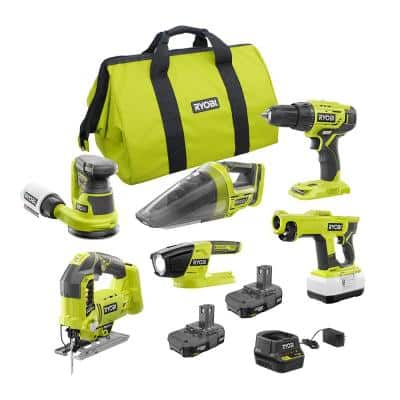 ONE+ 18V Cordless 5-Tool Combo Kit with (2) Batteries, Charger, Bag, and 18V Cordless Handheld Electrostatic Sprayer