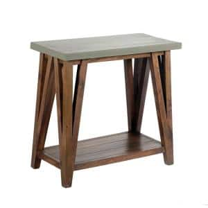 Brookside 30 in. Light Gray/Brown Rectangle Wood Console Table with Concrete-Coating