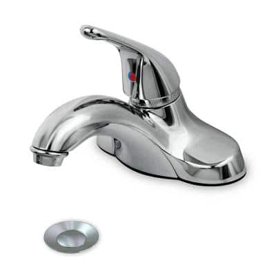 4 in. Centerset Single-Handle Ball Control Solid Lever Bathroom Faucet with Brass Pop Up Stainless Steel Chrome