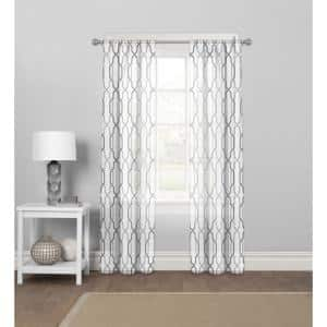 Grey Geometric Polyester 56 in. W x 84 in. L Rod Pocket Sheer Curtain Panel