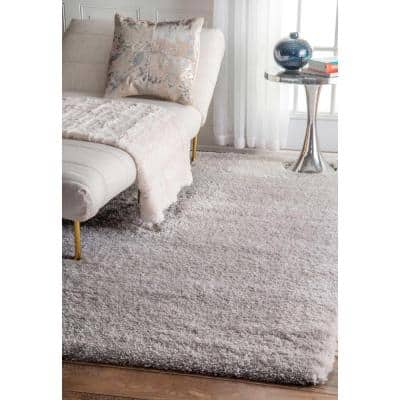 Gynel Solid Shag Silver 7 ft. x 9 ft. Area Rug
