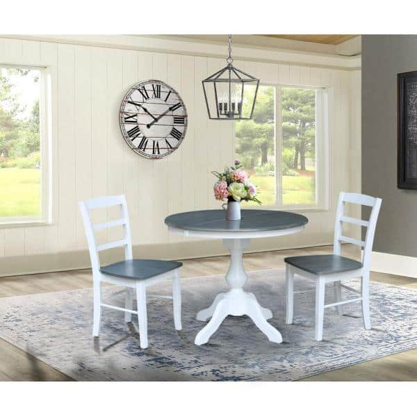 Heather Gray 36 In Round Extendable, Round Extendable Dining Table Set White